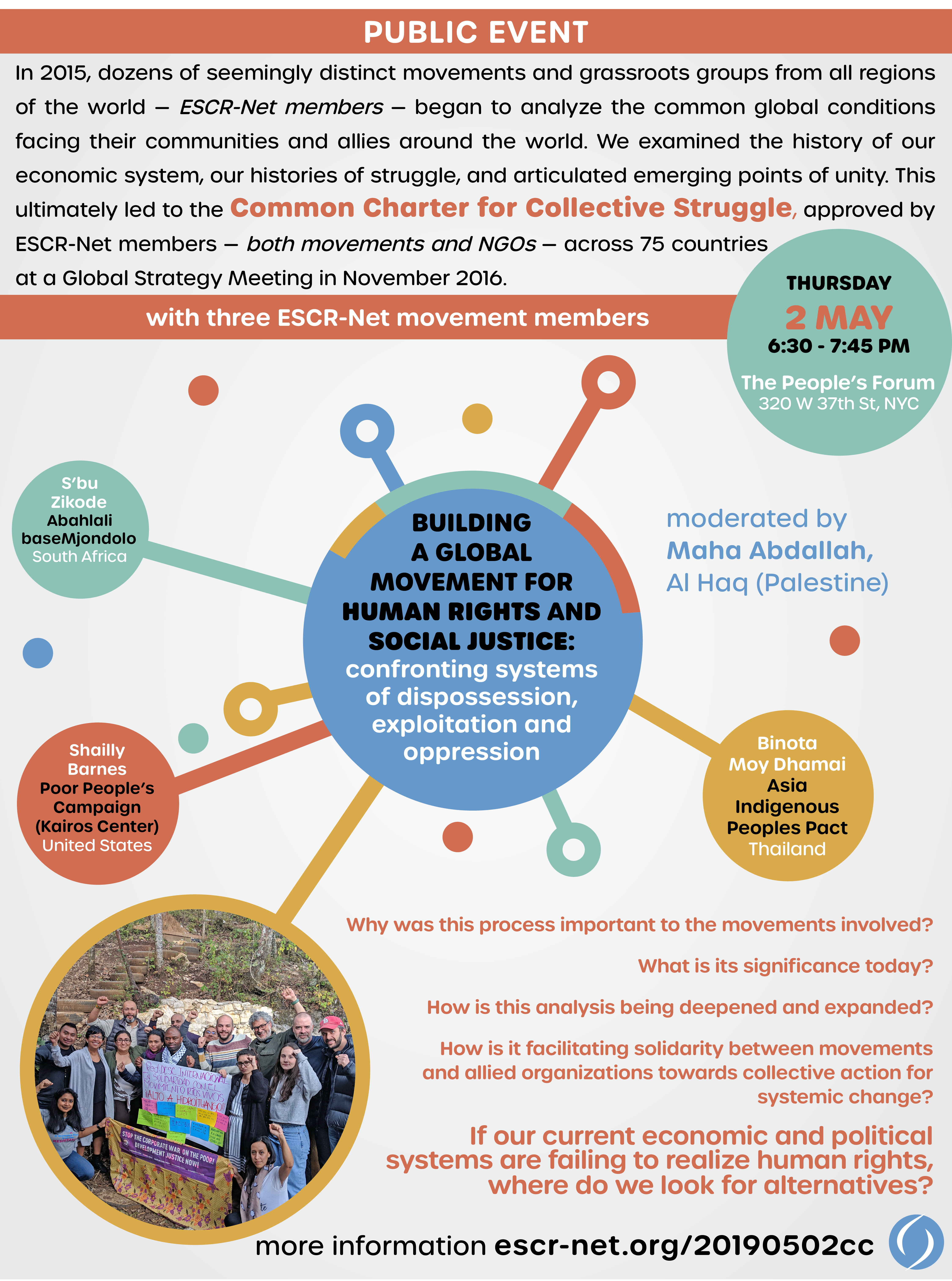 In 2015, dozens of seemingly distinct movements and grassroots groups from all regions of the world — ESCR-Net members — began to analyze the common global conditions facing their communities and allies around the world. We examined the history of our economic system, our histories of struggle, and articulated emerging points of unity. This ultimately led to the Common Charter for Collective Struggle, approved by ESCR-Net members — both movements and NGOs — across 75 countries at a Global Strategy Meeting in November 2016.
