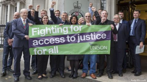Photo includes Dave Prentis (UNISON General Secretary), UNISON's legal team and UNISON members.
